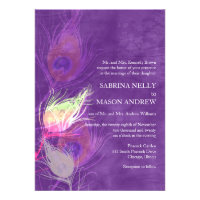 Modern Purple Peacock Feathers Wedding Invitations