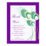 Modern Purple Peacock Wedding Flat Thank You Card