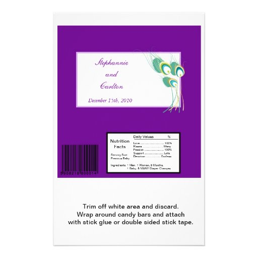 Modern Purple Peacock Wedding Large Candy Bar Wrap Personalized Flyer