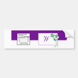 Modern Purple Peacock Wedding Water Bottle Label Bumper Sticker