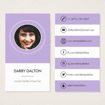 Professional Business Modern Purple Photo Social Media Business Card