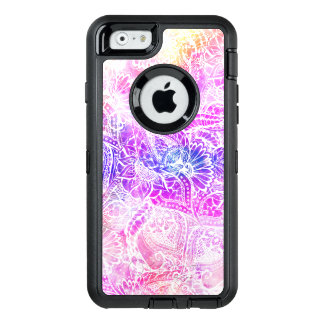 Modern purple pink watercolor white floral paisley OtterBox defender iPhone case