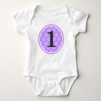 Modern Purple Polka Dot Birthday Girl Number 1 Baby Bodysuit