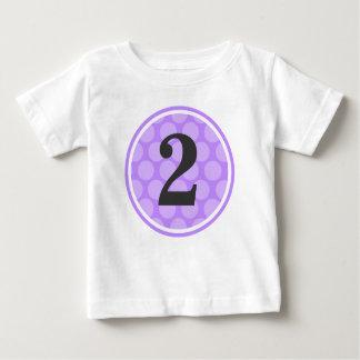 Modern Purple Polka Dot Second Birthday Girl Baby T-Shirt