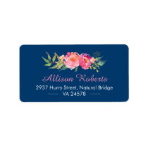 Modern Purple Red Pink Botanical Floral Navy Blue Label