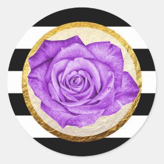 Modern Purple Rose Faux Gold Foil Striped Wedding Classic Round Sticker