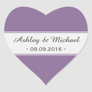 Modern Purple Save the Date Heart Sticker