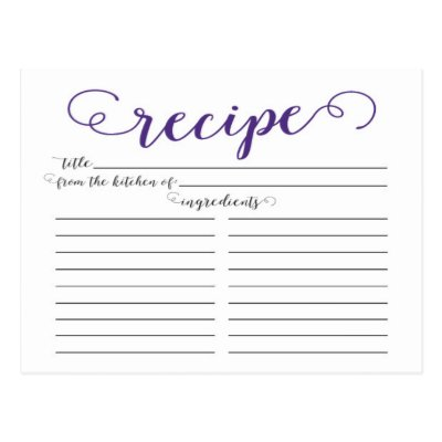 modern script bridal shower recipe cards zazzlecom