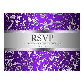 Modern Purple Silver Floral Wedding RSVP Postcard