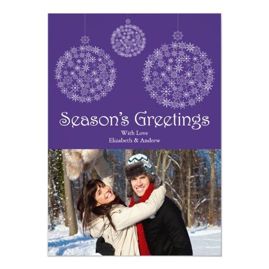 Modern Purple Snowflake Holiday Photo Card