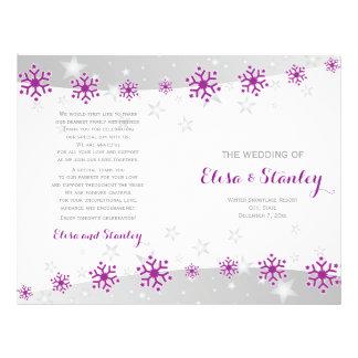 Modern purple snowflakes & stars wedding program