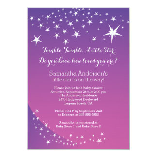 "Modern Purple Star Baby Shower Invitation 4.5"" X 6.25"" Invitation Card"
