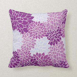 Modern Purple Starburst Floral Print Throw Pillow