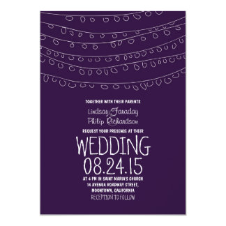 modern purple string of lights wedding invitations