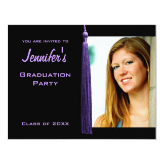 Modern Purple Tassle Graduation Party Photo Invite