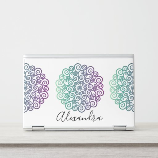 Modern purple teal floral mandala ombre HP laptop skin