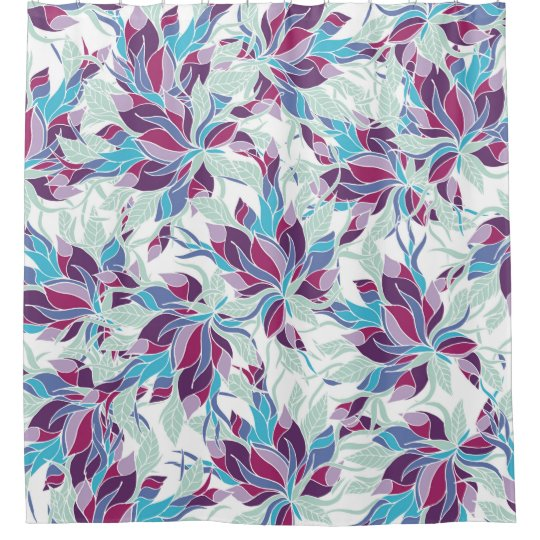 modern purple turquoise fall floral pattern shower curtain. Black Bedroom Furniture Sets. Home Design Ideas