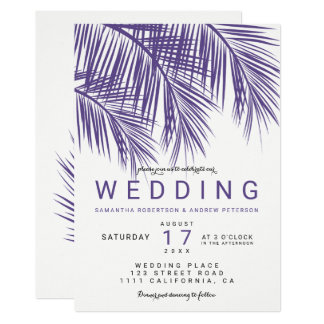 Modern purple violet palm tree elegant wedding card