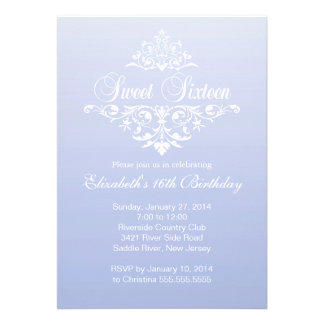 Modern Purple Violet Sweet Sixteen Birthday Party Personalized Announcement