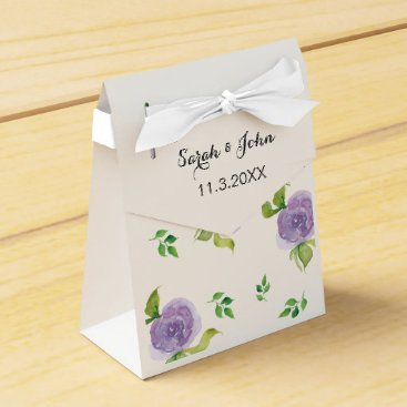 modern purple  watercolor floral wedding favor box