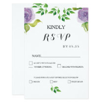Modern Purple watercolor flowers wedding RSVP card