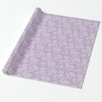 Modern purple white damask wedding gift wrap