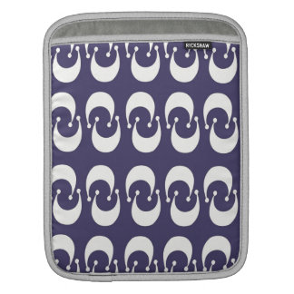 Modern Purple White Double Crescent Moon Pattern Sleeves For iPads