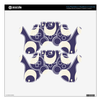 Modern Purple White Double Crescent Moon Pattern PS3 Controller Decals