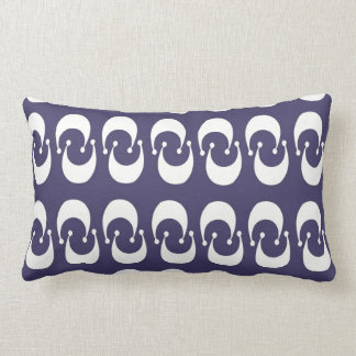 Modern Purple White Double Crescent Moon Pattern Throw Pillow