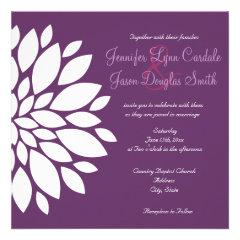 Modern Purple White Flower Wedding Invitations