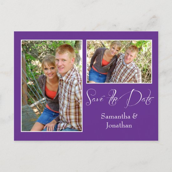 Modern Purple White Photo Collage Save The Date Announcement Postcard
