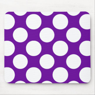 Modern Purple White Polka Dots Pattern Mouse Pad
