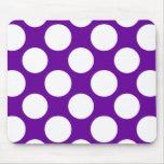 Modern Purple White Polka Dots Pattern Mousepads