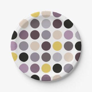 Modern purple yellow polka dots pattern monogram paper plate