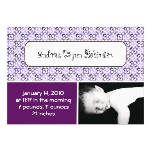 modern purples flower patterned  baby announce personalized announcement