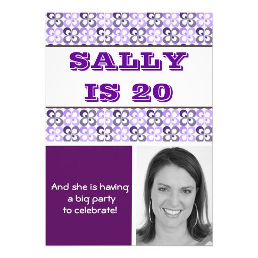 modern purples flower patterned birthday personalized announcements
