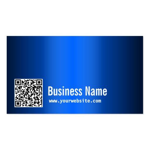 Modern QR Code Blue Metal Business Card