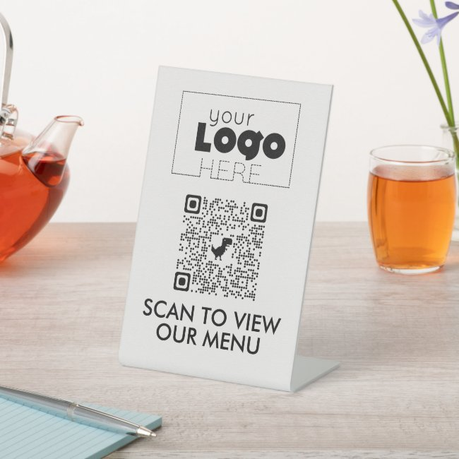 Modern QR Code No Contact Scan for Menu Table Sign