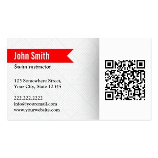 Modern QR Code Swim Instructor Business Card