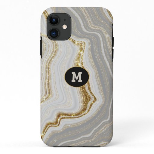 Modern Quarts & Gold Agate Crystal Personalize iPhone 11 Case