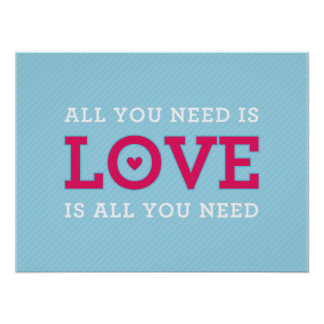 "MODERN QUOTE wedding couple ""all you need is love"" Poster"
