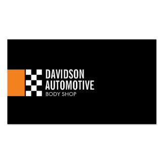 Modern Racing Flag Logo in Orange Automotive Double-Sided Standard Business Cards (Pack Of 100)