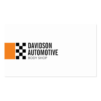 Modern Racing Flag Logo in Orange II Automotive Double-Sided Standard Business Cards (Pack Of 100)