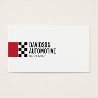 Modern Racing Flag Logo in Red II Automotive Business Card
