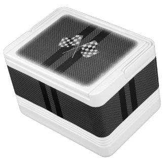 Modern Racing Flags Stripes in Carbon Fiber Style Cooler