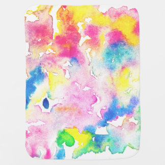 Modern rainbow abstract watercolor splatters swaddle blanket