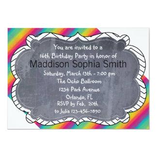 Modern Rainbow Birthday Invitations