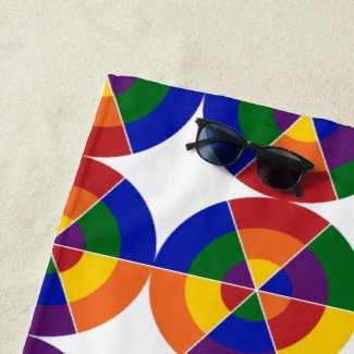 Modern Rainbow Circle White Star Geometric Pattern Beach Towel