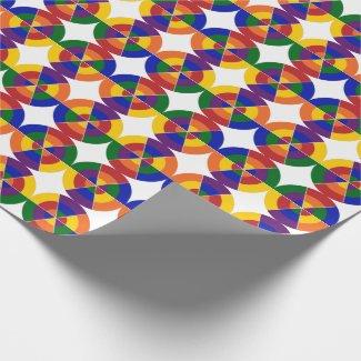 Modern Rainbow Circle White Star Geometric Pattern Wrapping Paper