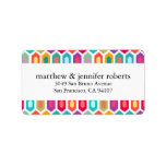 """Modern Rainbow Colorful Geometric Ikat Label<br><div class=""""desc"""">A colorful rainbow hexagon pattern in a rainbow of colors. Personalize these address labels with a name(s) and address.</div>"""
